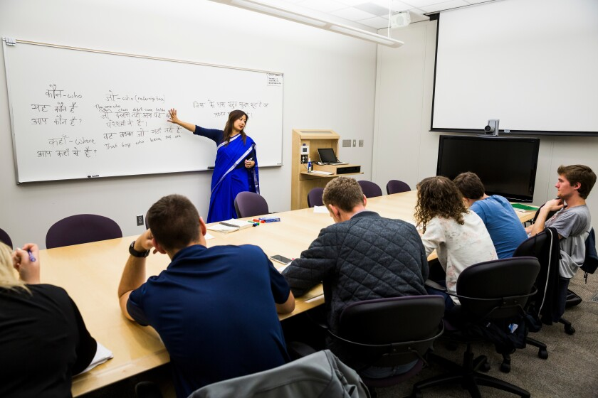 Tahira Carrol teaching a language course.