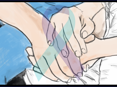 An illustration of a two people cupping the hands together.
