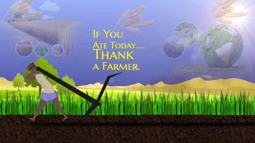 """Illustration of a farmer plowing a field with words in the sky that read """"If you ate today ... Thank a Farmer."""""""