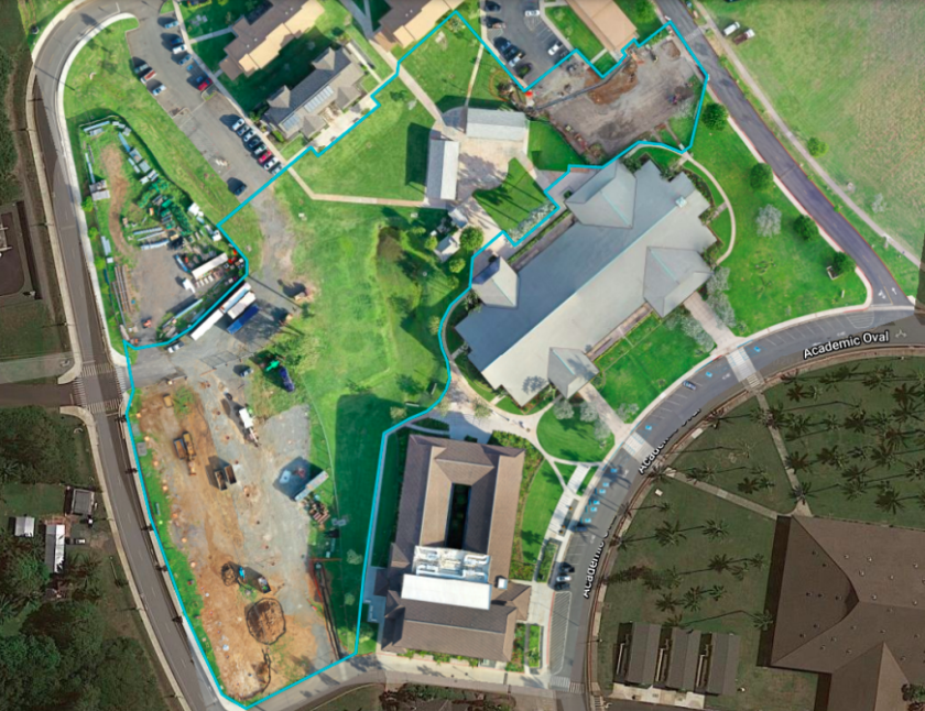 A map of the fencing for the TVA construction. The area behind Stake Center and Heber J Grant Building and before Temple View Apartments are marked for the fencing. Joseph F. Smith Library is on the bottom-right and Mikionele Way is on the left-hand side of the map.