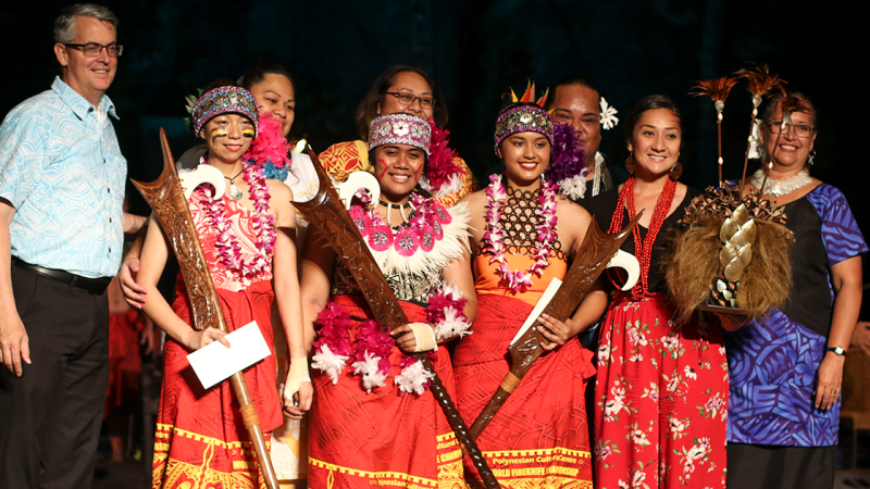 The three finalist of the Women's Fireknife Division (from left to right): Sih Ping Huang, from Taiwan, Jeralee Galeai, from Laie, and Moemoana Schwenke, from Australia.