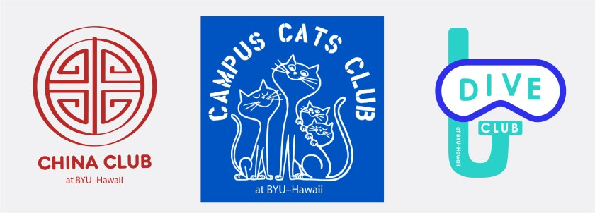 "Student club mark examples using ""at BYU–Hawaii"" after the club name such as ""China Club at BYU–Hawaii"", ""Campus Cats Club at BYU–Hawaii"", and ""Dive Club at BYU–Hawaii."" These student club marks do not use any part of the official university marks but are unique designs to the club."