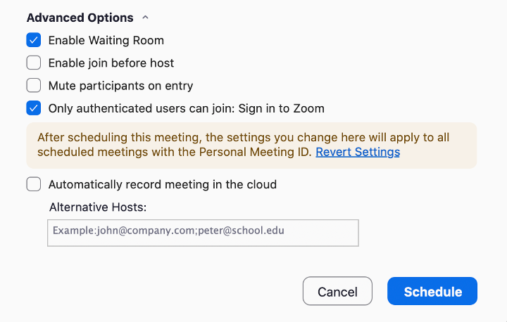 Options - Enable Waiting Room & Only authenticated users can join.