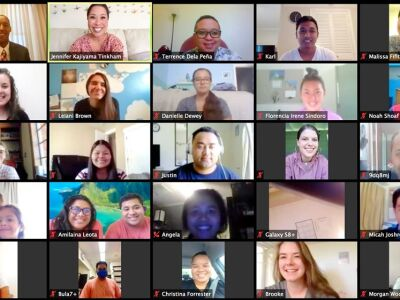 Screenshot of students participate in a Zoom meeting with a professor and speaker