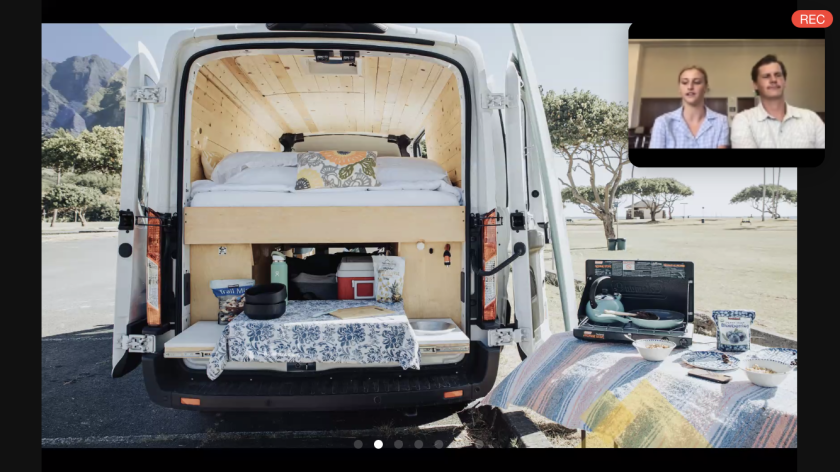 Screenshot of a Zoom presentation of a van with a table, bed, and dishes around it with a screen on the top right with Hazel Johnston and Bailey Bird.