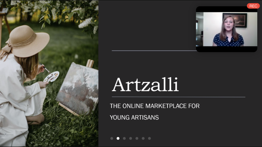 """Screenshot of a Zoom slide with the words """"Artzalli, the online marketplace for young artisans"""" with a photo of a girl painting and a screen with the 12-year-old Chloe Christiansen."""