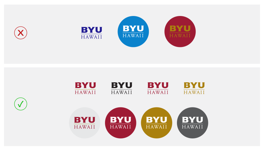 In two rows: the top row has examples of the BYUH monograms that are using the logo incorrectly by changing the core logo in and on blue, and also in a shade of gold while placed on red therefore causing legibility issues; the bottom row has examples of correctly using the BYUH monogram by using them in and on the BYUH primary colors and neutral colors, white and tones of blacks and grays.