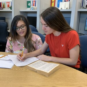 A student worker teaching the other student on a desk