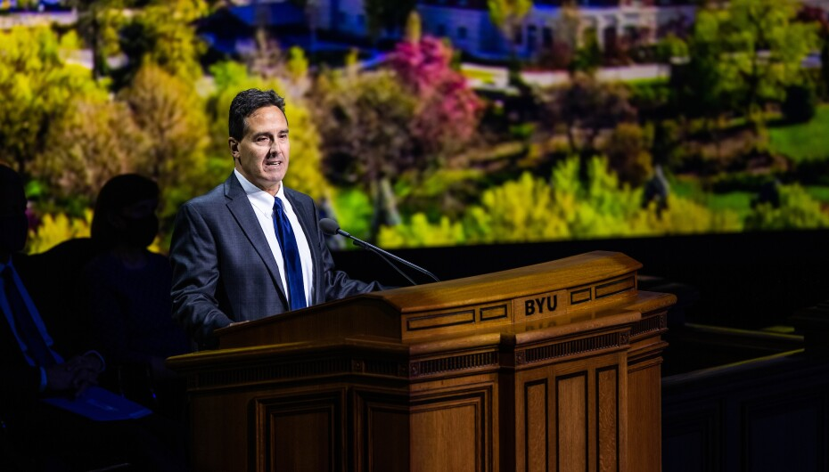 Professional portrait of BYU professor, Rick Jellen, giving his devotional address to campus on 11 May 2021.
