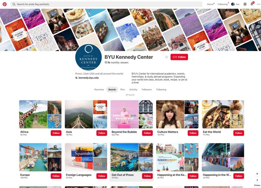 BYU Kennedy Center Pinterest Grid