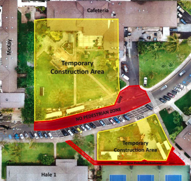 A satellite map of the Cafeteria area and McKay Gym on BYU-Hawaii campus. It includes the old cafeteria building on the top, McKay building on the left-hand side, Hale 1 student dorm on the bottom left, and the tennis court on the below right of the image. An arch-shaped road separating the old cafeteria building and the McKay building from the others. The area between the old cafeteria building and road and the area between the road and the tennis court is marked as a temporary construction area. The road in between the temporary construction areas and a small path between the tennis court and the temporary construction area near the tennis court are marked as no pedestrian zone.