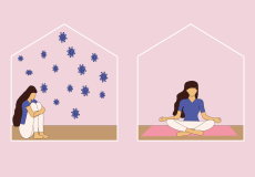 Graphic of women sitting in two different rooms. The first, she's sitting, arms folded around her knees with corona viruses all around her. In the second, she's on a mat and in a meditation pose.