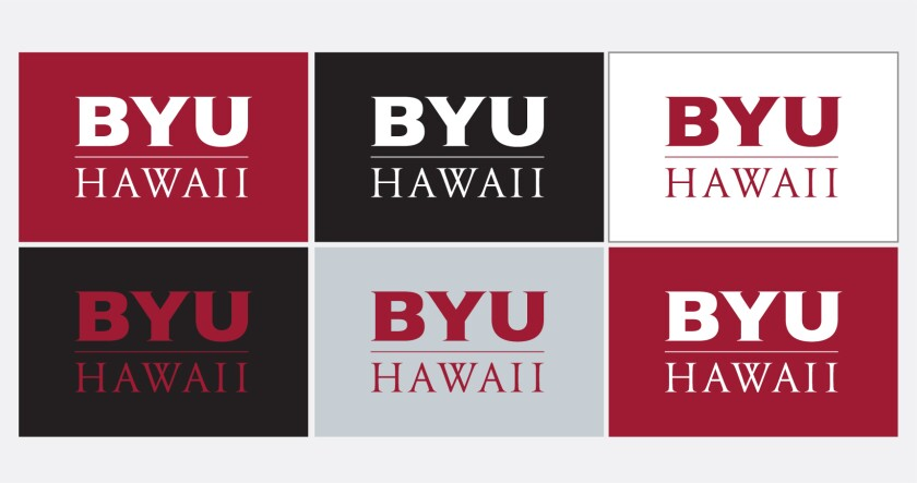 Six examples of the BYUH monogram logo in and on school and neutral colors.