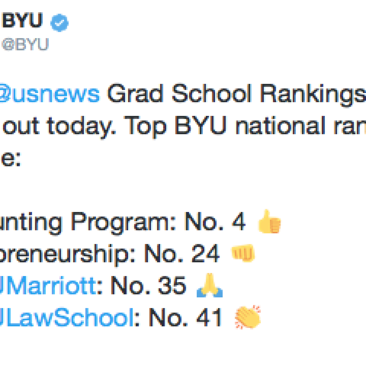 Law School Ranking >> New Grad School Rankings Show Byu Law Make Big Jump