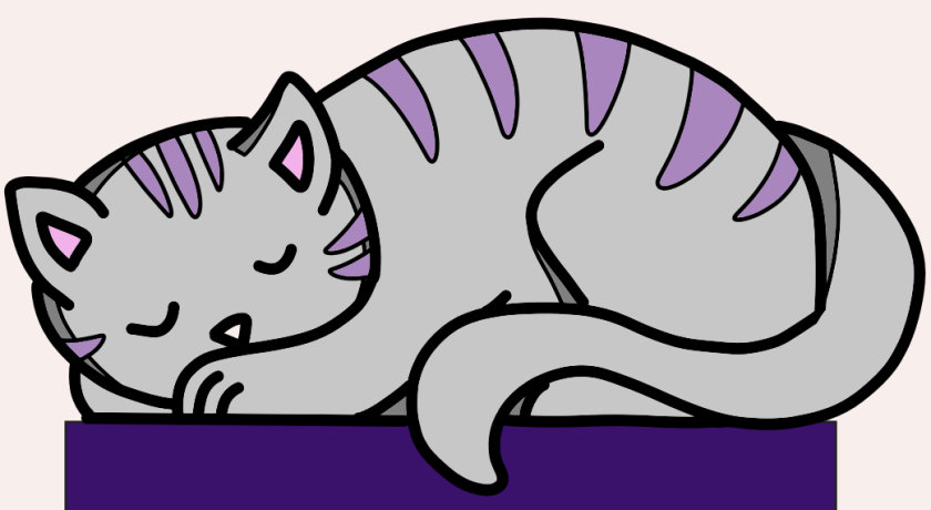 An illustration of a cat sleeping.