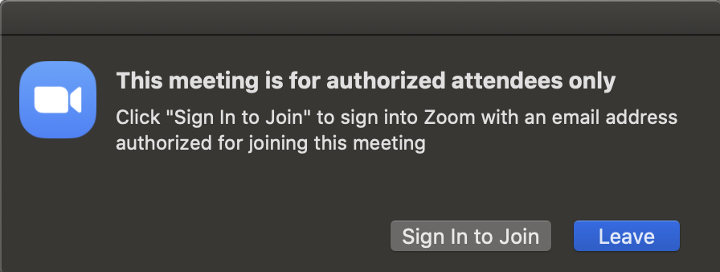 This meeting is for authorized attendees only.  Click Sign in to Join.