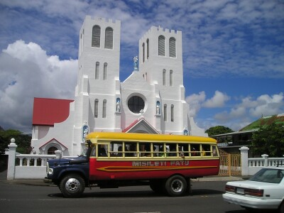 Image of a church and bus in Western Samoa