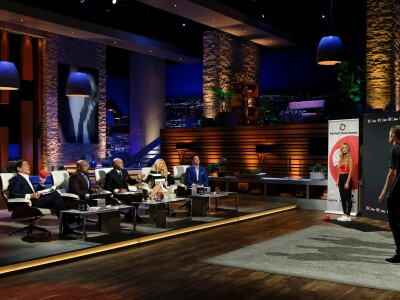Image: BYU alums on stage of Shark Tank
