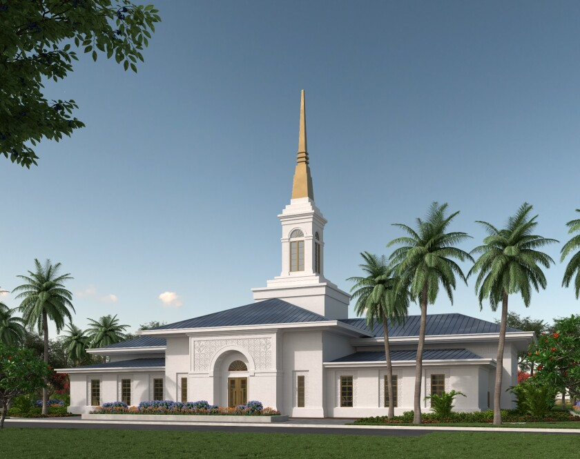 Renderings of Neiafu, Tonga Temple with white walls, brown doors, blue roofs, a white and gold tower structure, with palm trees around it.