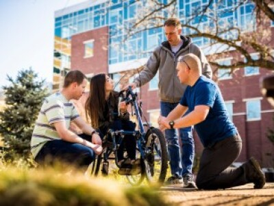 Students engineer hand-trike attachment for LDS Charities global wheelchair program
