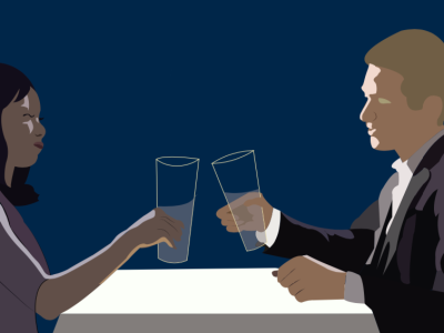 An illustration of a couple toasting each other during a date