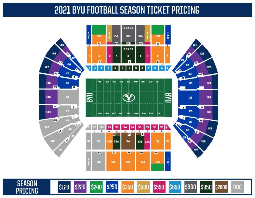 2021 BYU football season ticket map