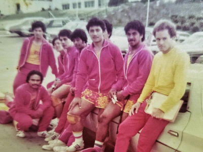 Mike Wilton with his volleyball team