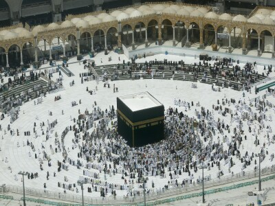 Muslims circle around the Kaa'ba in Mecca, Saudia Arabia.