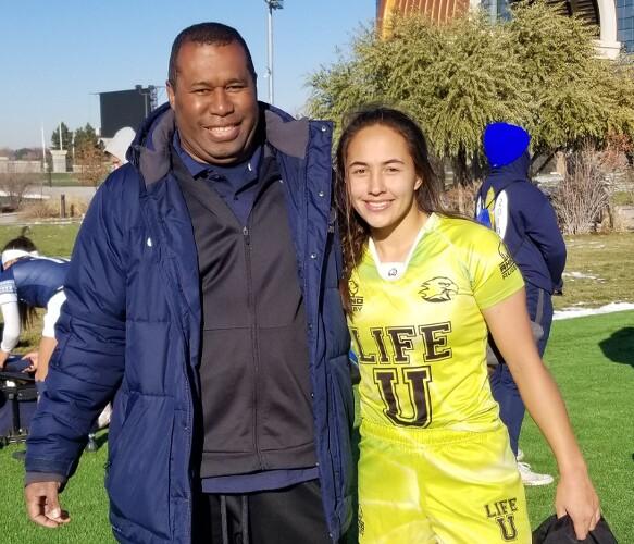 BYU Women's Rugby Coach Tom Waqa & Alex Sedrick at a recent tournament in Glendale, CO.