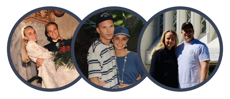 Three photos of Kenedi Cooper's parents throughout their years of marriage.