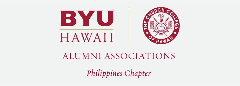 The BYUH Alumni Association logo for the Philippines Chapter with the Church College of Hawaii logo and BYUH monogram and name of the chapter below.