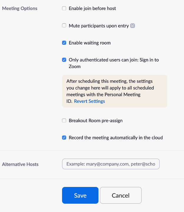Record the meeting automatically in the cloud.