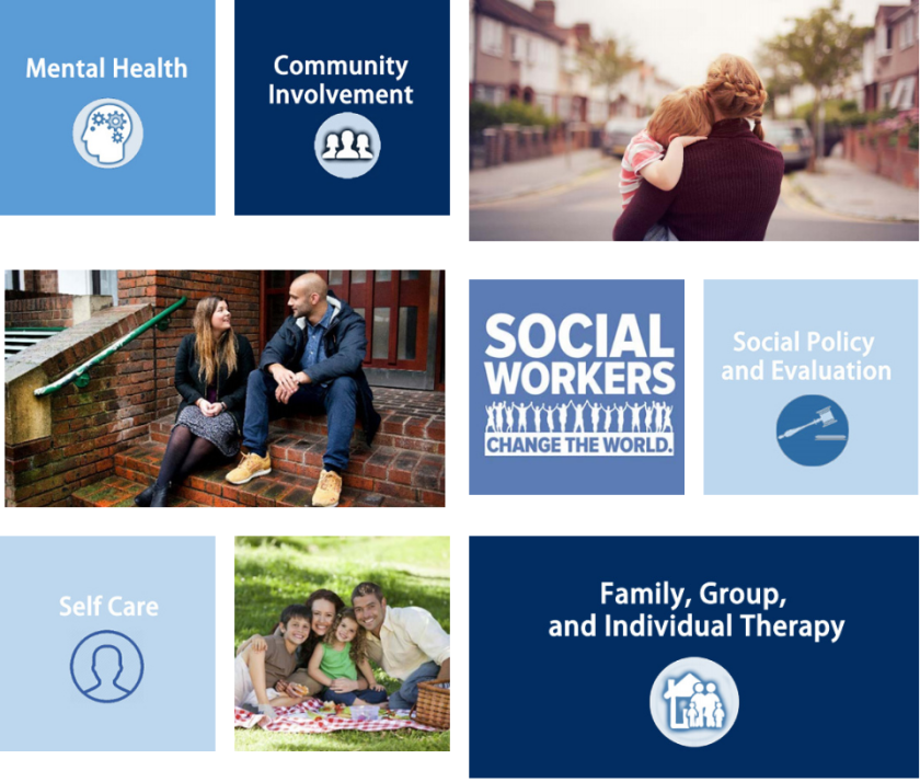 a collage of topics relating to social work