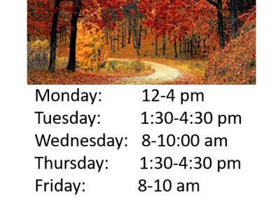 Picture of a road with fall leaves and list of walk-in hours Promo