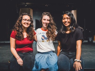 Backstage employees Alexia Kaley, Lucy Torres and Miha Mortensen pose for a picture together