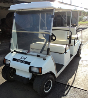 This is a photo of one of the golf carts on campus.