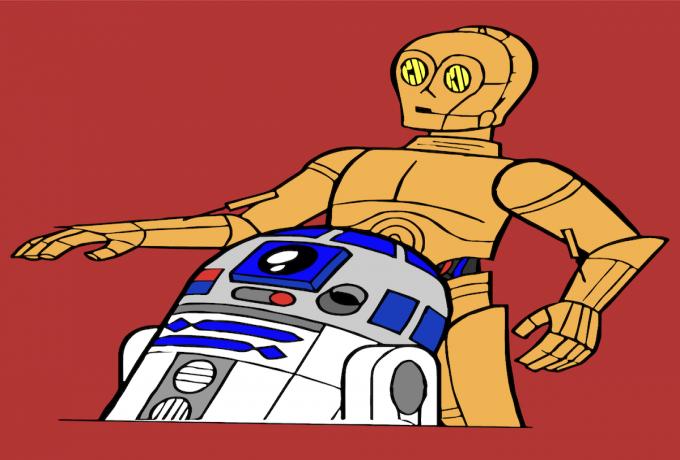 C3PO walks behind R2D2