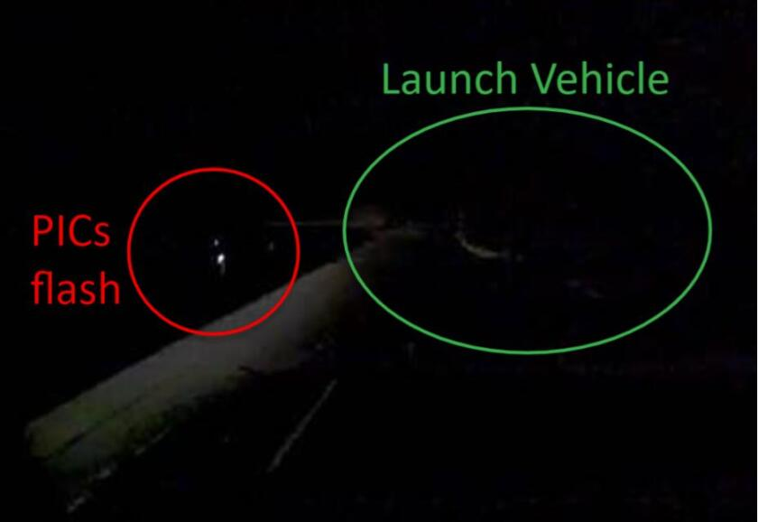 An image of the PICs flash and the launch vehicle