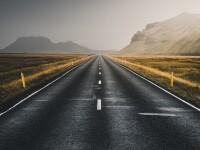 Straight road through the desert.
