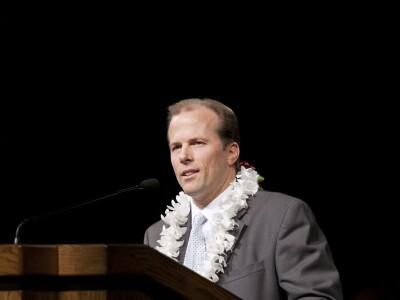 David Bybee speaking at devotional