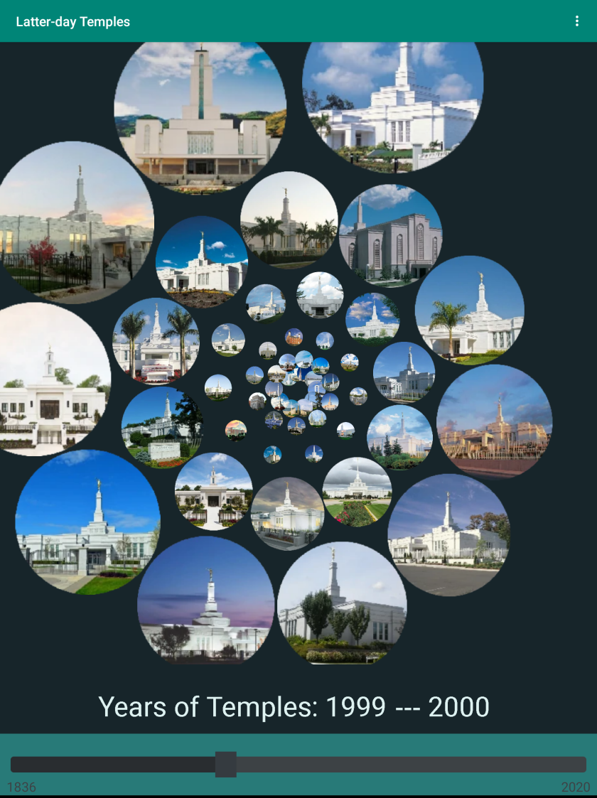 """Picture of app with circular pictures of temples in a spiral with a black background saying """"years of temples: 1999-2000."""""""