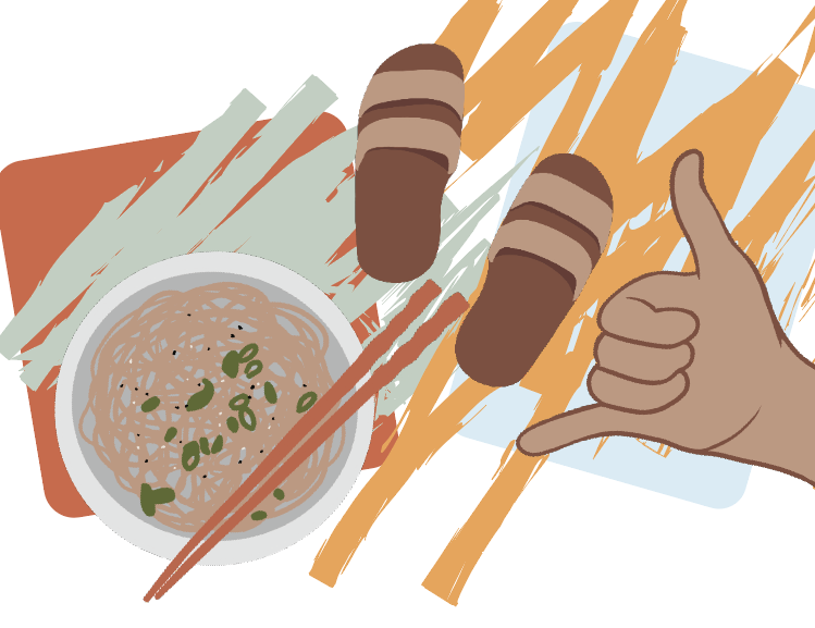 An illustration of a bowl with rice and chopsticks, sandals, and a shaka hand sign with colored lines behind them.