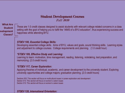 Student Development Courses