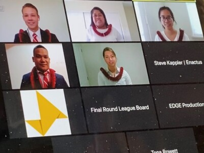 Screen shot of students in a zoom meeting each wearing a red lei.