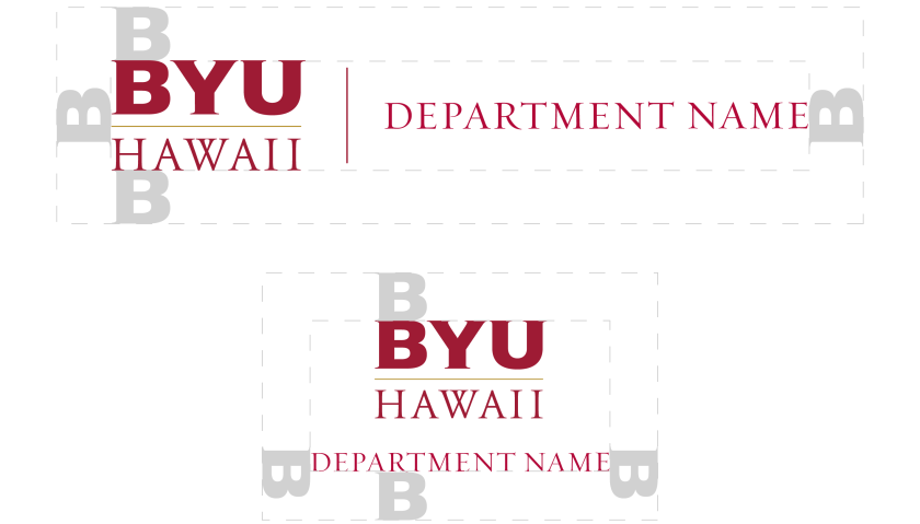 "The two orientations—horizontal and vertical version of the BYUH monogram secondary identity logo with default text ""department name."" Also presenting the clear space around it using the height of BYUH's B around it."