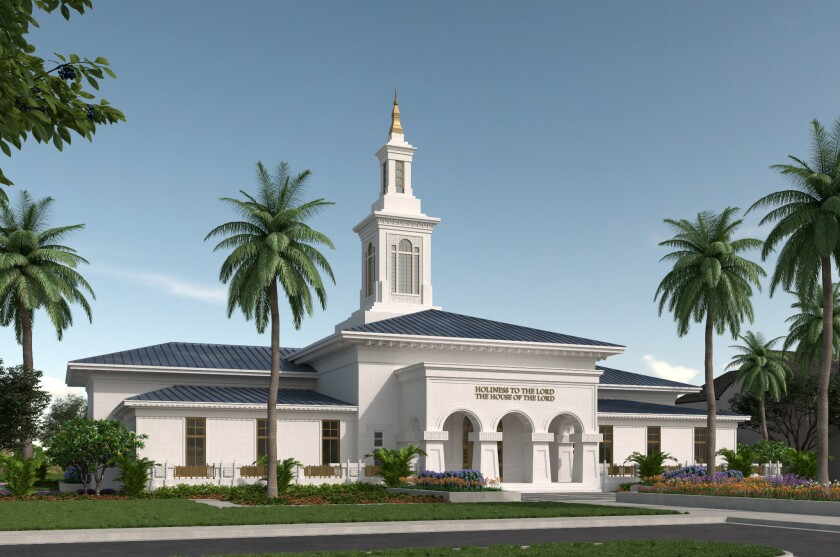 Photo of the renderings of the temple in Samoa with white walls, a tower structure, and palm trees around it.