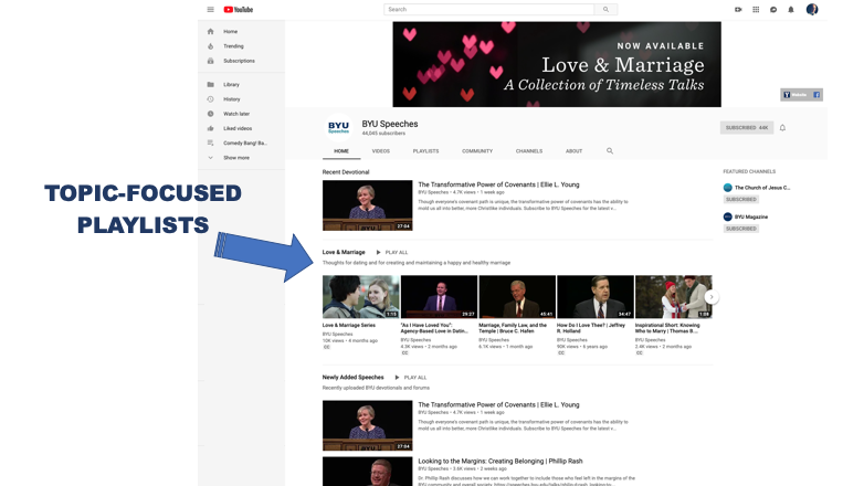 Screen Shot of BYU Speeches YouTube Channel