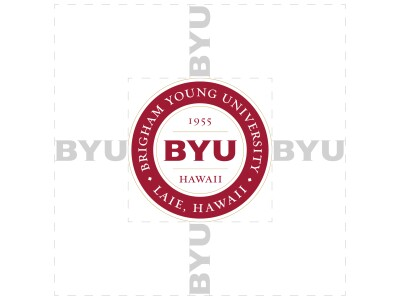 "The BYUH medallion logo while presenting its required clear space around it using the width of ""BYU"" all around it."