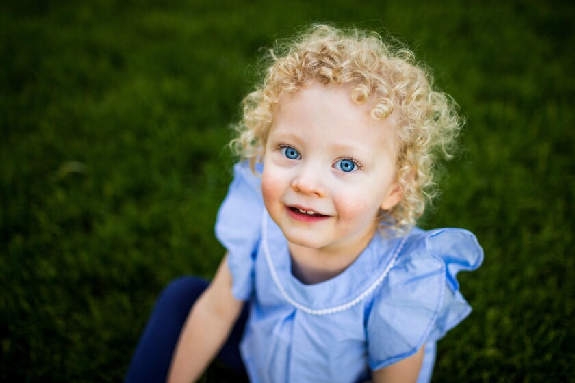 child looking at camera