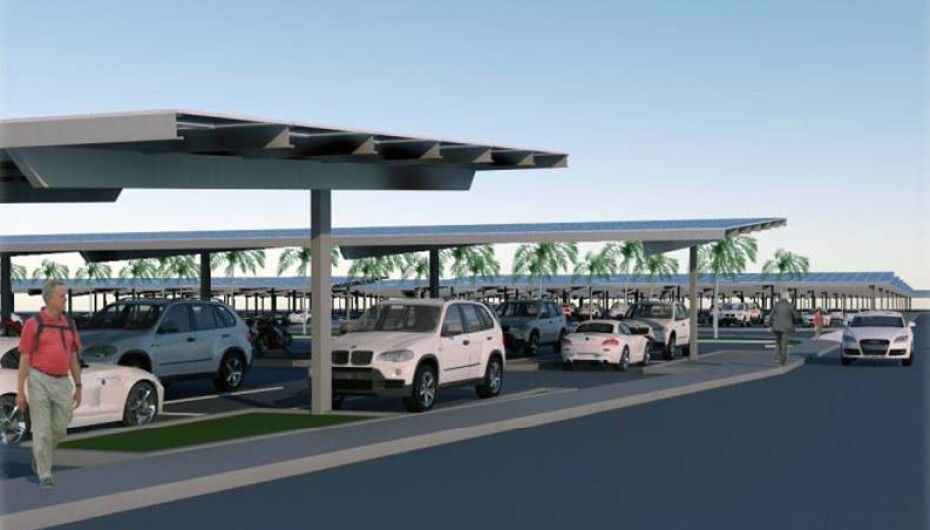 Graphic rendering of solar carports covering a large parking lot.